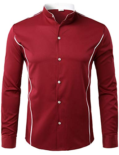 - ZEROYAA Mens Hipster Slim Fit Long Sleeve Mandarin Collar Shirts with Contrast Trim Z51 Wine Red Small