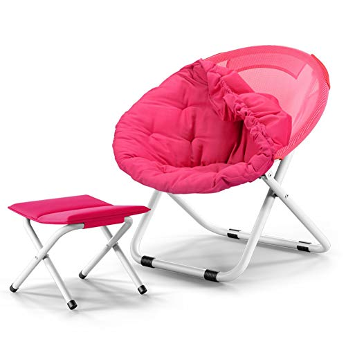 Foldable Saucer Moon Chair with Footstool, Oversized Lazy Sofa Chair for Backyard Lakeside Beach Traveling Camping (Color : Rose Red)