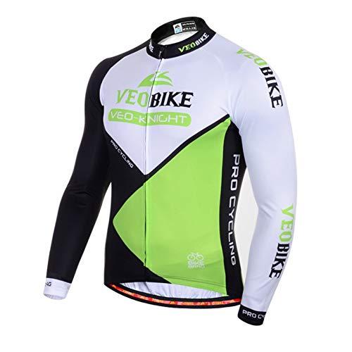Epinki Mujer y Hombre Otoño Invierno Ciclismo Camisa Verde para Al Aire Libre y Multi Deportes Largo Mangas Tamaño L