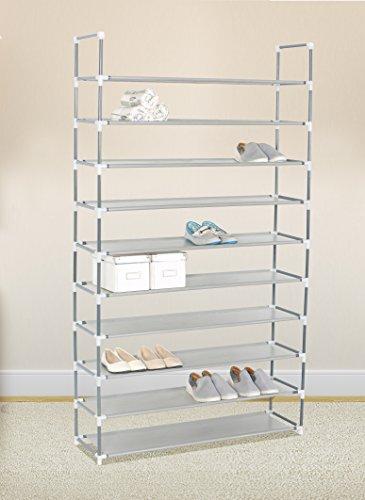 Shoe Tower Storage Organizer Cabinet 10 Tiers Shoe Rack 50 Pairs, Grey