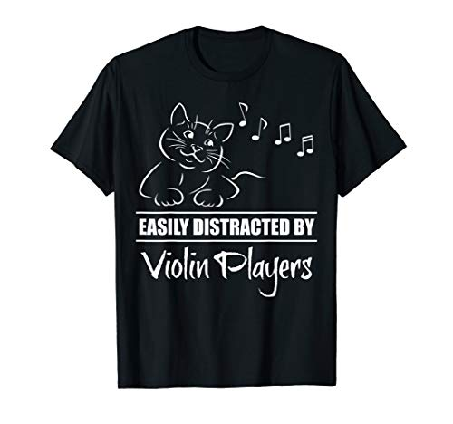Curious Cat Easily Distracted by Violin Players Whimsical T-Shirt