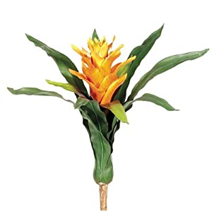 "19"" Handwrapped Silk Bromeliad Plant Flower Bush -Orange (Pack of 6) 58"