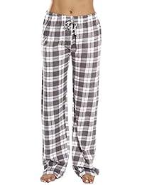 100% Cotton Jersey Women Plaid Pajama Pants Sleepwear