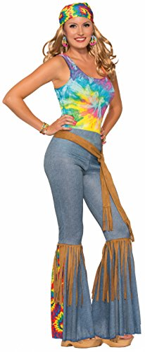 [Forum Novelties Women's Hippie Costume Bell Bottoms, Blue/Brown, Medium/Large] (Tie Dye Dress Costume)
