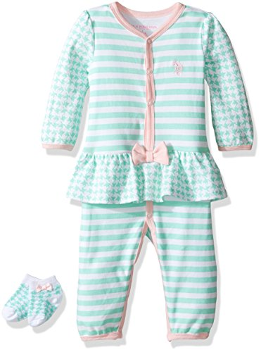U.S. Polo Assn. Baby Girls' Long Sleeve Skirted Romper with Socks