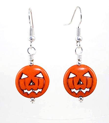 Jack O Lantern Pumpkin Gemstone Earrings Halloween Jewelry