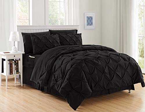 Elegant Comfort Luxury Best, Softest, Coziest 8-Piece Bed-in-a-Bag Comforter Set on Amazon Silky Soft Complete Set Includes Bed Sheet Set with Double Sided Storage Pockets, King/Cal King, Black (Bedroom All Set Black)