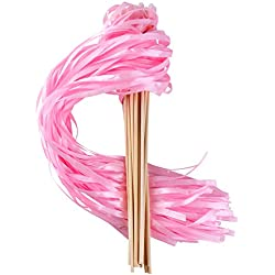 Wishprom Ribbon Wands Sticks Streamers for Wedding Party Favor (Pink-30PCS)