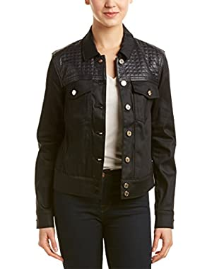 7 For All Mankind Women's Denim Jacket With Quilted Leather