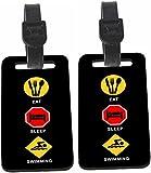 Rikki Knight Eat Sleep Swim Design Luggage Identifier Tag (1-sided) - with Strap Closure (Set of 8)
