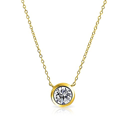 Bling Jewelry Bezel-Set Round CZ Solitaire Pendant Gold Plated Necklace 16 Inches