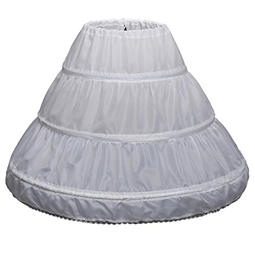 QueenDress Kids 3 Hoops Petticoat Full Slip Flower Girl Crinoline Underskirt White ()