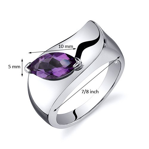 Amethyst Ring Sterling Silver Rhodium Nickel Finish Marquise Shape 1.00 Carats Sizes 5 to 9