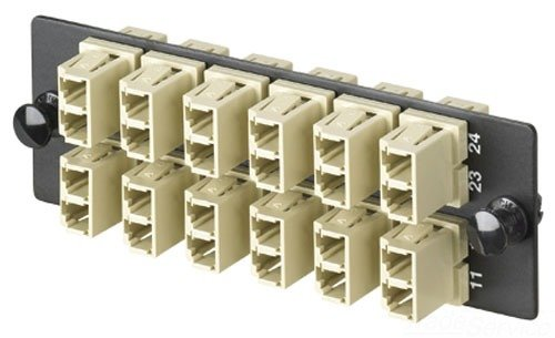 Panduit FAP12WEIDLC Multi-Mode 12-Port Fiber Adapter Panel with Phosphor Bronze Split Sleeve, Electric Ivory by Panduit (Image #1)