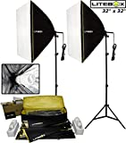 LITEBOX 32'' Softbox Lighting Kit (850W) Continuous Photography Studio & Film Lighting Box Lights for Video Shooting & Professional Photo Booth - 5500K Daylight Bulbs (Set of 2)