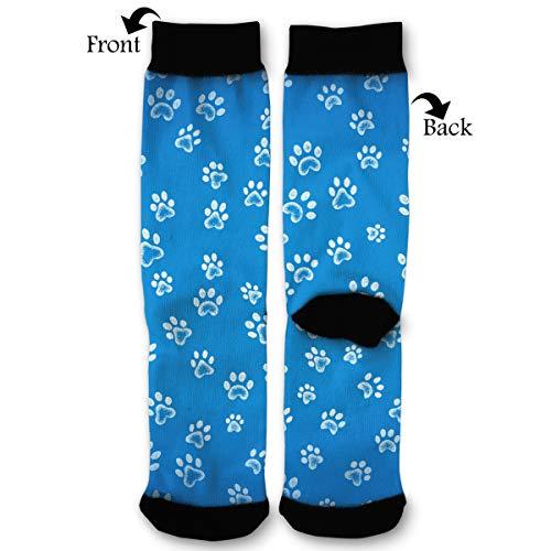 EKUIOP Socks Blue Background White Dog Paws Pattern Funny Fashion Novelty Advanced Moisture Wicking Sock for Man -