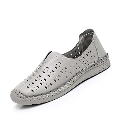 Mujeres Mediana Cuero Edad Planos Zapatos Huecos Planos de de Marrón de de Zapatos Sandalias Verano Las OYHBqnn
