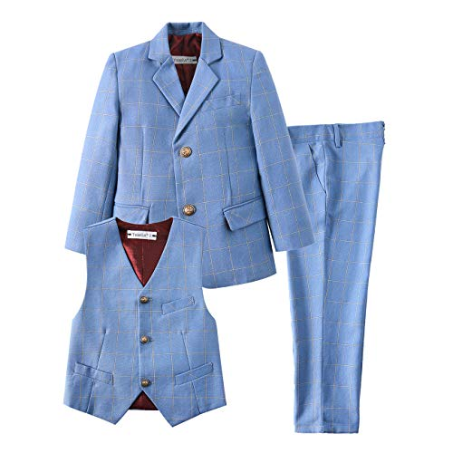 (YuanLu Kids Toddler Boys Suit Ring Bearer Formal Clothes Suits Slim Fit Tuxedo Plaid Light Blue Size 7)