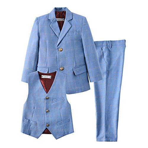 YuanLu Kids Big Boys Suit Ring Bearer Formal Clothes Suits Slim Fit Tuxedo Plaid Light Blue Size 8