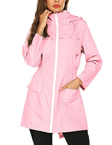 Windproof Jackets for Women,Women's Trench Coats Active Outdoor Hiking Camping Raincoat Pink