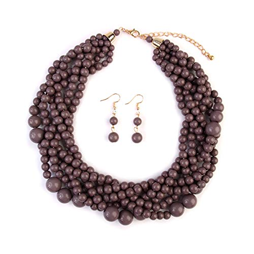 MYS Collection Women's Braided Beaded Bubble Statement Necklace - Multi Strand Colorful Bead Layered Collar Necklace (Gray)