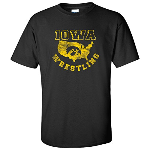 Iowa USA Wrestling Hawkeyes T-Shirt - Medium - Black by UGP Campus Apparel
