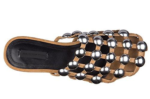 mujer Alexander nuevo sandalias Wang amelia zapatillas marrón en piel 55wBrq