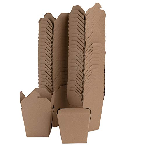 Chinese Take Out Boxes 16 oz (50 Pack) Microwaveable Brown Takeout Food Containers - Stackable to Go Boxes - Recyclable Food Service Containers - Mini Chinese Boxes for Party Favors and Restaurants