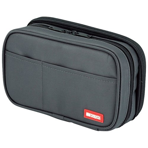 LIHIT LAB. Double Zipper Pen Case, 7.9 x 2.8 x 4.7 inches, Black (A7555-24) by LIHITLAB