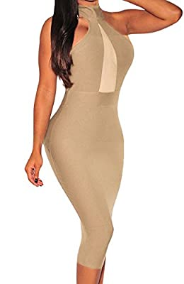 Sexy Womens Mock Neck Sheer Peep Hole Party Club Midi Dress