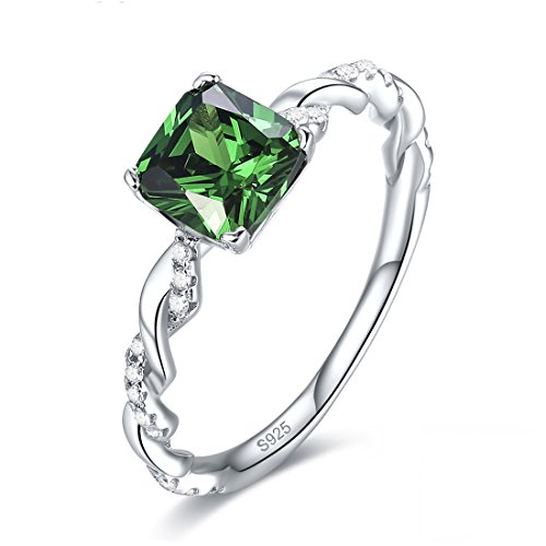 Jrose 925 Sterling Silver Created Princess Cut Emerald CZ Promise Ring for Her