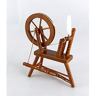 Dollhouse Miniature Sewing Room Furniture Walnut Wood Spinning Wheel: Toys & Games