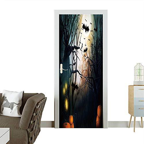 Art Door Stickers Scary Halloween Backdrop Door Decals for Home Room Decoration W30 x H80 -
