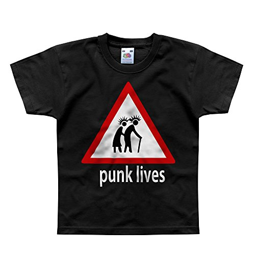 Nutees Punk Lives Rock Heavy Metal Music Unisex Kids T Shirts - Black 7/8 - Punk Indie Clothing