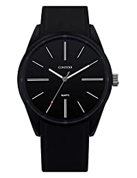 Comtex Men's Sports Watches with Silicone Band Cool Watches (black)