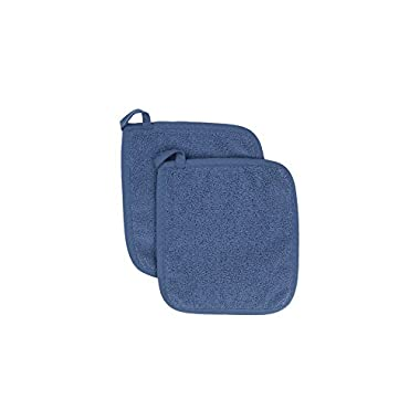 Ritz Royale Collection Cotton Terry Pot Holder Hot Pad Set, Federal Blue, 2-Piece