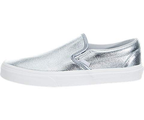 (Vans Classic Slip On Shoes Sneakers Crackle Blanc de Blanc/Leather (M5/W6.5, (Metallic) Gray Down/True White))