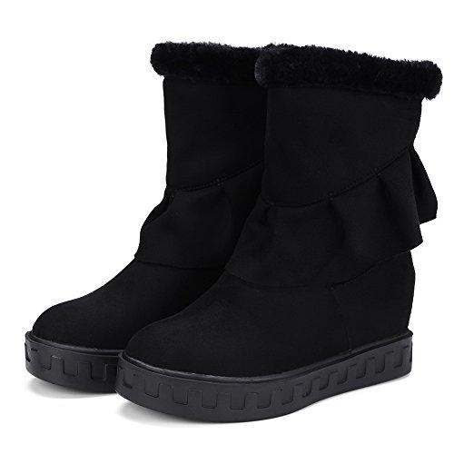 BalaMasa Womens Fringed Snow Boots Mid-Calf Suede Boots ABL10660 Black t3JR1Av