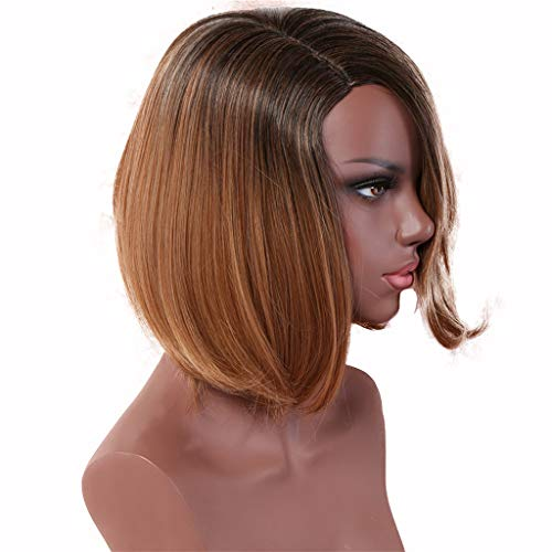 Gradient Color Partial Short Wig,Straight Wigs for Women,Women Heat Resistant Wig Brown Synthetic Wigs for Black Women