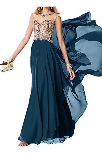 Blaugruen Steine Damen Promkleid Chiffon Rueckenfrei Modisch Festkleid Abendkleid Rundkragen Partykleid Ivydressing Tvp66