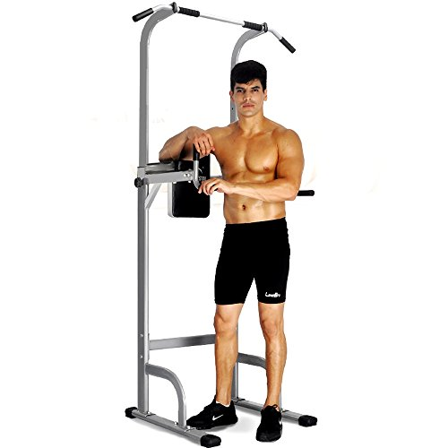 Docheer Adjustable Height Power Tower w/ Dip Station Pull Up Bar Standing Tower Gym Sports Equipment...