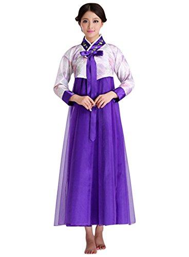 North Korea Halloween Costume (CRB Fashion Womens Ladies Traditional Kids Korean Hanbok Outfit Dress Costume (Small, White/Purple))