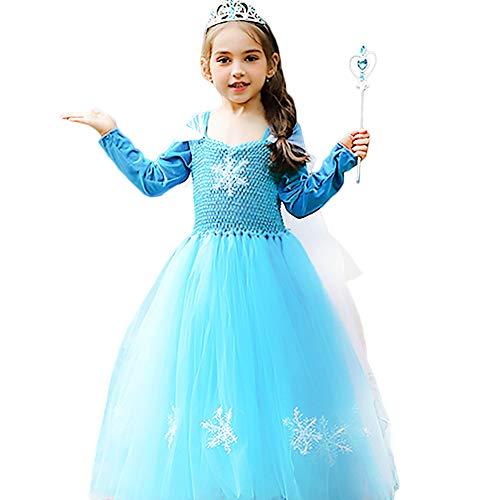 CQDY Elsa Princess Dress, Sleeveless Frozen Snow Girl Party Dress Tutu Dress (2-3 Years Old, Blue Dress Flannel)