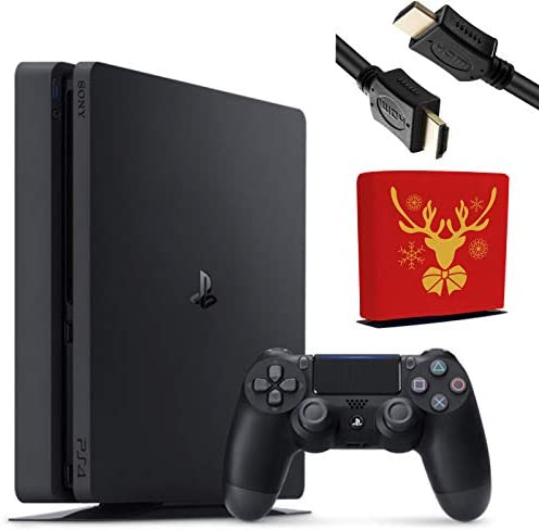 Sony Playstation 4 Console - 1TB Slim Edition Jet Black - with 1 DualShock 4 Wireless Controller - Family Holiday Gaming Bundle - iPuzzle Red Reindeer Dust Cover for PS4 + 3 Feet HDMI Cable