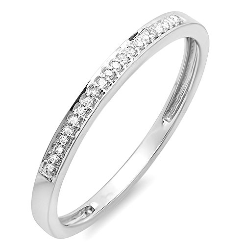 0.06 Ct Diamond Fashion (0.06 Carat (ctw) 10K White Gold Round Diamond Ring Wedding Anniversary Stackable Band (Size 6))