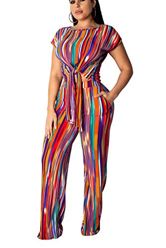 Womens Sexy Two Piece Jumpsuit Outfit - Short Sleeve Rainbow Print Bandage Crop Top + Wide Leg Long Pants Multi#1 ()