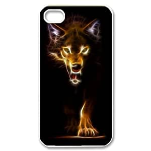 Custom Colorful Case for Iphone 4,4S, Fire Wolf Cover Case - HL-R662974