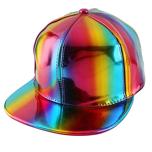 FALETO Adjustable Shiny Holographic Baseball Cap Rainbow Reflective Hip Hop Rave Hat Metallic Casual Cap]()