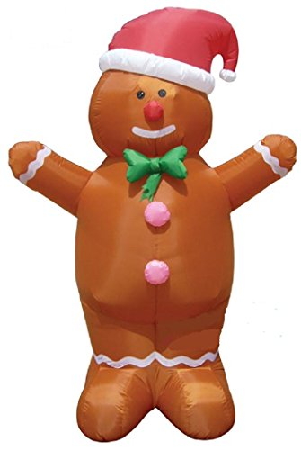 Gemmy Airblown Inflatable Gingerbread Man Wearing Santa Hat and Green Bow Tie - Indoor Outdoor Holiday Decoration, 7-foot Tall by Unknown