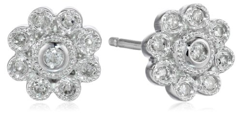 Sterling Silver Diamond Floral Stud Earrings (1/8 cttw, I-J Color, I2-I3 (Diamond Floral Stud)